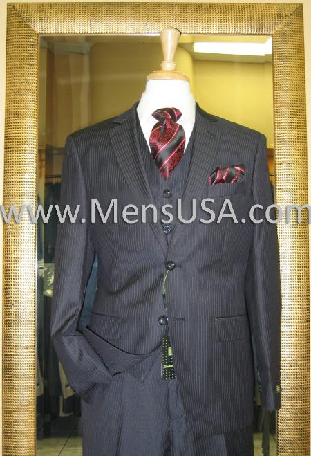 SKU#KN3821 2 Button 3 Piece Black Pinstripe Fitted Suit