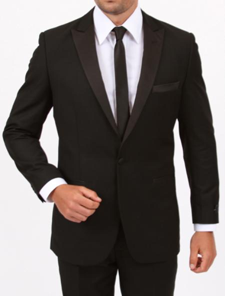 SKU#XL8942 Tapered Leg Lower Rise Pants & Get Skinny  Slim Fit 1 Button Black Tuxedo  $175