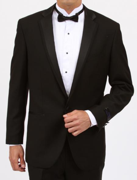 SKU#OK7912 Mens Black Slim Fit 1 Button Tuxedo with Center Vent $199
