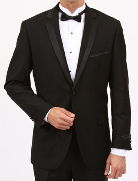 SKU#MW8245 Tapered Leg Lower Rise Pants & Get Skinny Black Slim Fit 1 Button Tuxedo with Side Vents