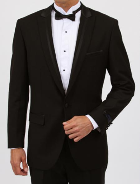 SKU#SL6043 Peak lapel flat front pants Slim Fit 1 Button Black Tuxedo with Satin Collar $199