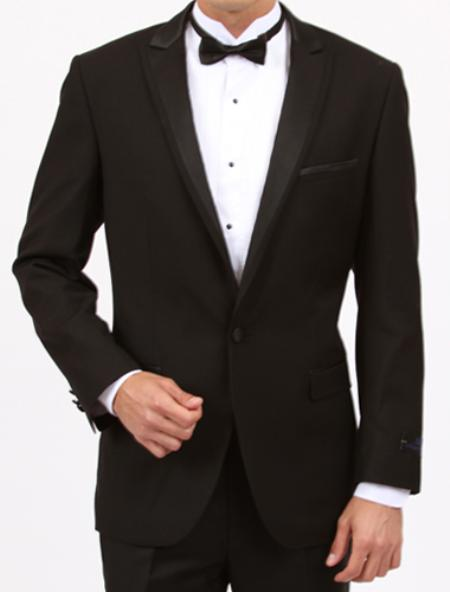 SKU#QK6792 Tapered Leg Lower Rise Pants & Get Skinny Peak lapel flat front pants 1 Button Slim Fit Black Tuxedo  $175