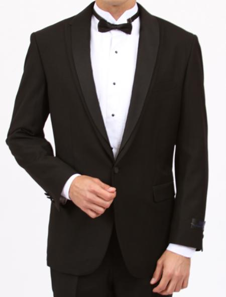 SKU#HN7023 Mens Black Slim Fit Center Vent 1 Button Tuxedo $199