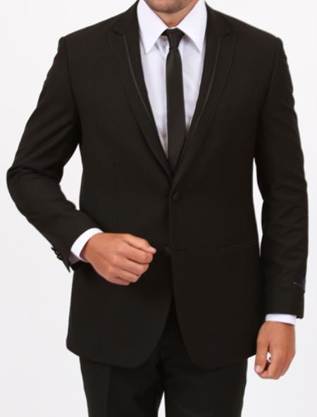 SKU#RN9421 Tapered Leg Lower Rise Pants & Get Skinny Peak lapel flat front pants Slim Fit Side Vents 1 Button Black Tuxedo