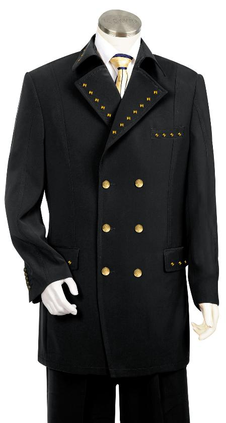 SKU#KA8798 Black Mens Tuxedo Suit