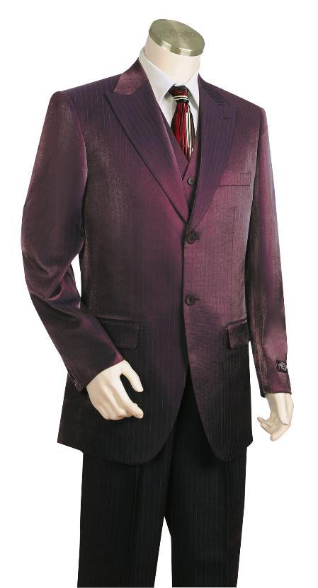 3 Button Suit Wide Leg Pants Wool Feel Dark Wine Tuxedo/jacket Mens Cheap