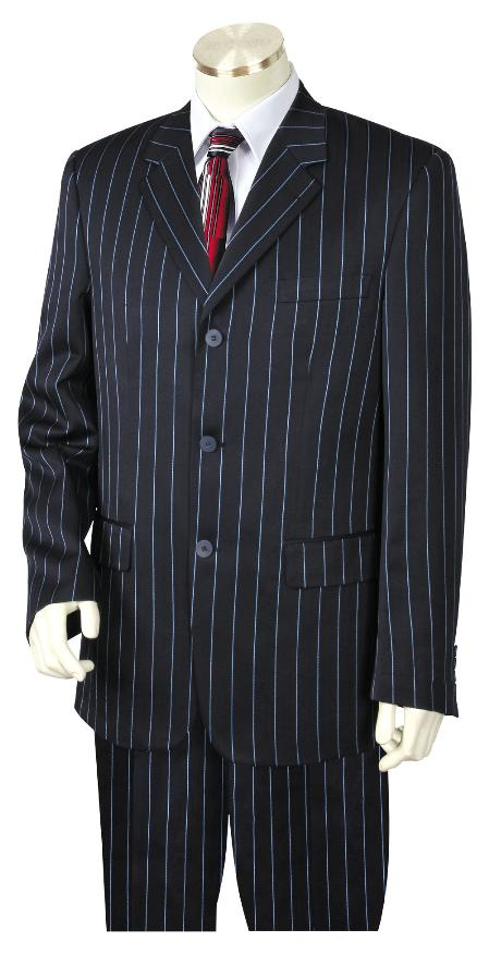 1940s Mens Suits | Gangster, Mobster, Zoot Suits 3 Button Suit Wide Leg Pants Wool feel Navy Blue Trousers Suit Jacket $185.00 AT vintagedancer.com