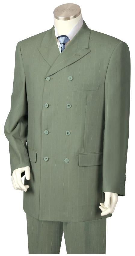 4 Button Wide Leg Pants Wool feel Olive Green Trousers Suit Jacket
