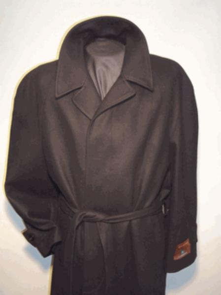 SKU#6744 Mens Overcoat Long Wool Black Belted