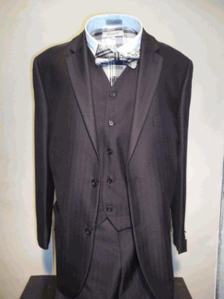 SKU#GN5872 Mens Luxurious Wool Feel Single Breasted 2 Buttons three piece suit