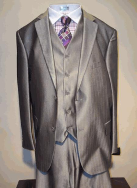 SKU#RT5462 Mens Luxurious Wool Feel Single breasted 2 buttons Vested three piece suit Grey $175
