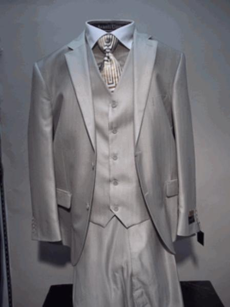 SKU#VS4623 Mens Luxurious Wool Feel Single breasted 2 buttons Vested three piece suit Beige $175