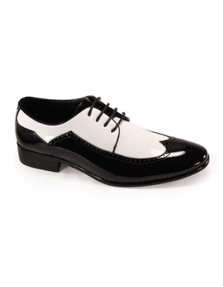 1950s Mens Shoes: Saddle Shoes, Boots, Greaser, Rockabilly Mens Luxury Shoes BlackWhite $75.00 AT vintagedancer.com