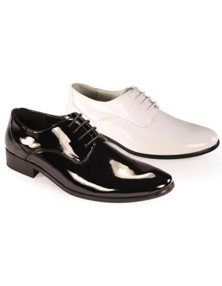 SKU#GP3922 Oxfords Tuxedo Formal Mens Classic Leather Lace Formal Shoes in Black and White $75