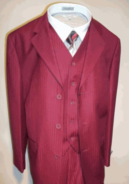 SKU#T633SE Mens Burgundy Vested Tone on Tone Stripe three piece suit $125