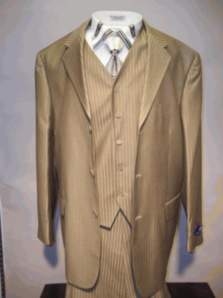 SKU#T633SE Mens Taupe Vested Tone on Tone Stripe three piece suit $125
