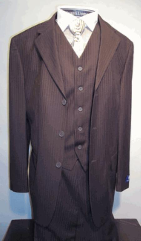 SKU#T633SE Mens Chocolate Vested Tone on Tone Stripe three piece affordable suit online sale $125