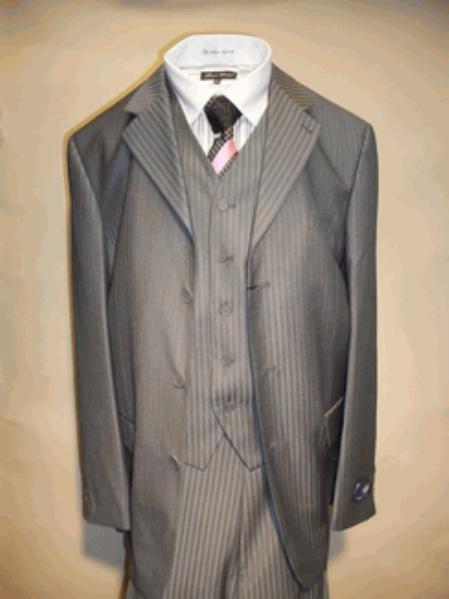 SKU#T633SE Mens Charcoal Vested Tone on Tone Stripe three piece affordable suit online sale $125