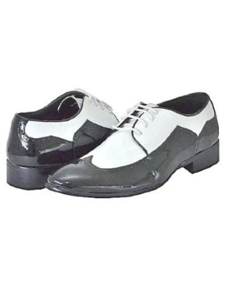 1950s Style Mens Shoes Mens Black White Dress Shoes $99.00 AT vintagedancer.com