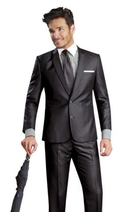 SKU#HM82221 2 Button Shiny Flashy Metalic Silk Touch Sharkskin Black Suit $225