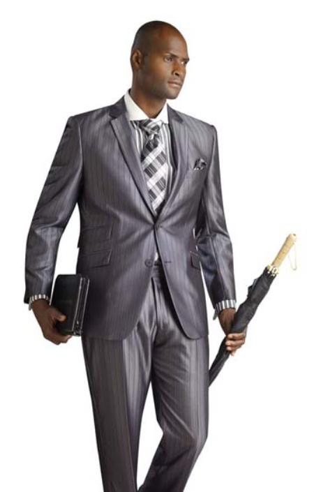 SKU#YU5246 2 Button Shiny Flashy Metalic Silk Touch Grey Pinstripe Suit $225