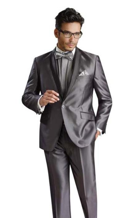 MensUSA.com 1 Button Shiny Flashy Metalic Silk Touch Solid Grey Suit(Exchange only policy) at Sears.com