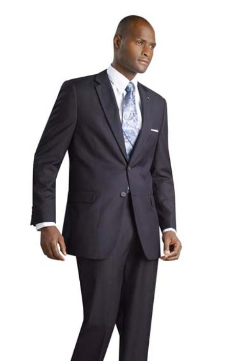 SKU#IX3111 2 Button Shiny Flashy Metalic Silk Touch Midnight Navy Suit