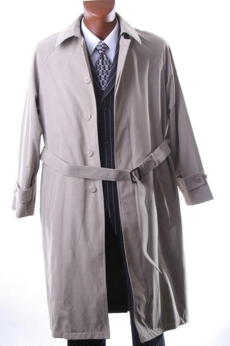 IRENE_05 Mens Taupe Full Length All Year Round Raincoat-Trench Coat $199