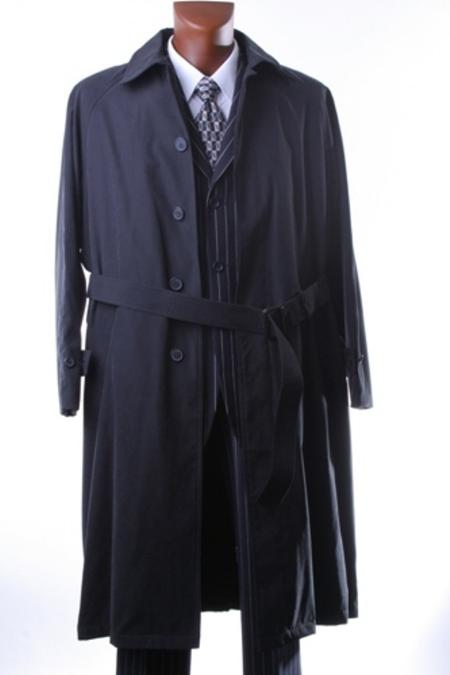 IRENE_05 Mens Black Full Length All Year Round Raincoat-Trench Coat $175