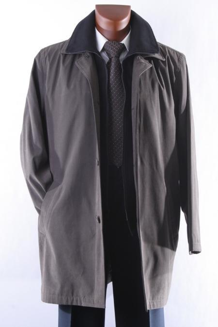 Style:R69714R-Model:Rudy Mens Olive Three Quarter Length All Year Round Raincoat-Trench Coat $139