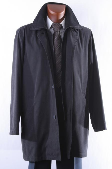 Style:R69714R-Model:Rudy Mens Black Three Quarter Length All Year Round Raincoat-Trench Coat $139