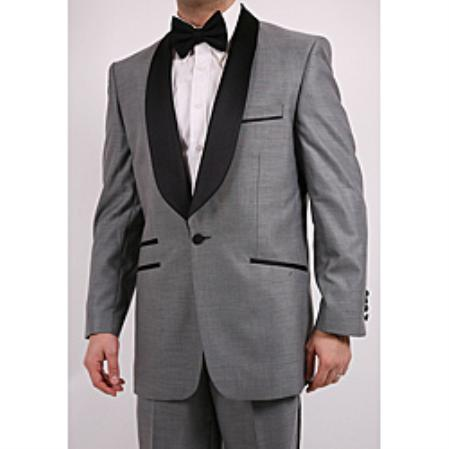 SKU#GN16328 Mens Single-Button Shawl-Collar Grey Tuxedo $199