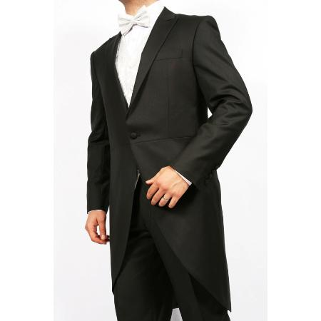 SKU#WZ7912 Mens Black 2-Piece 1-Button Cutaway Tuxedo