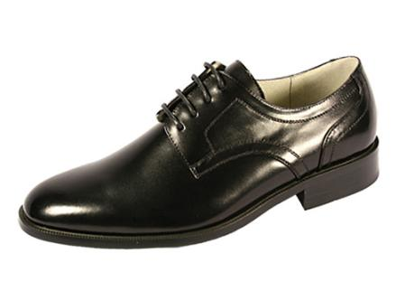 SKU#IJ1212 Plain Toe Lace-Up Black Dress Shoes $99