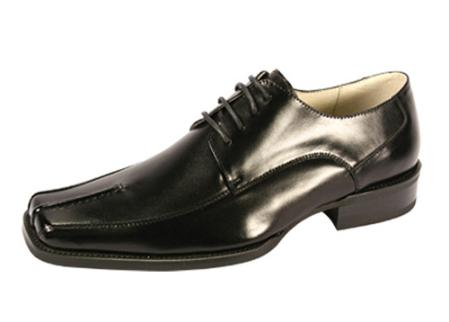 SKU#KU2911 Bike Toe Lace-Up Black Dress Shoe$99