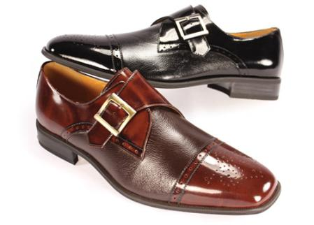 SKU#GV55552 Cap Toe Monk Strap Dress Shoe Black $99