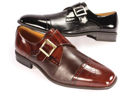 SKU#GV55552 Cap Toe Monk Strap Dress Shoe Black $99