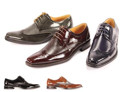 SKU#FV42200 Mens Oxford Shoes in Black, Burgundy, Gray, Light Brown & Navy  $99