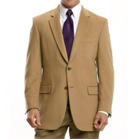 SKU#CK1109 Executive 2-Button Cashmere & Wool Blazer Tan $139