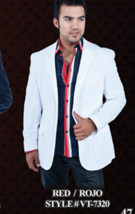 SKU#WB7778 White Velvet Blazer for Men $139