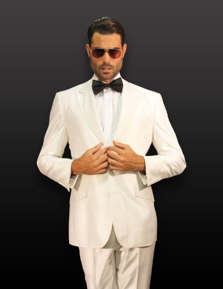 SKU#PQ10001 White 2pc 2 Button Shiny Shark Skin Suit with Pikie Stitches on the Lapel