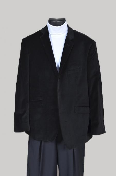 SKU#WA4441 Mens Velvet Sport Coat- Black