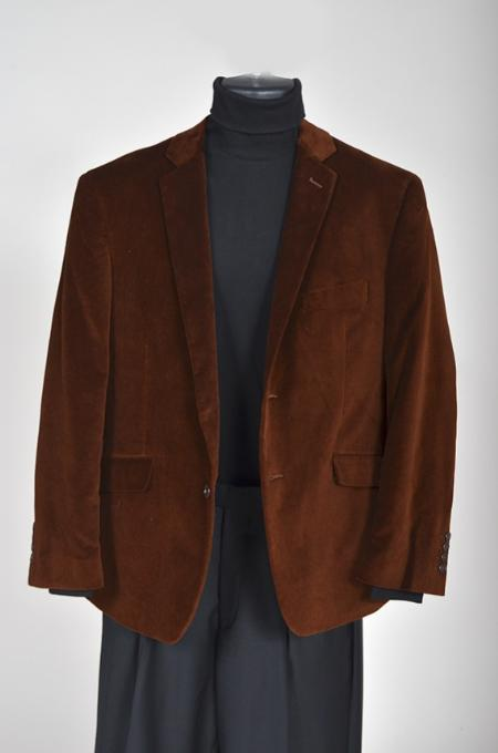 SKU#YU5421 Mens Velvet Sport Coat- Brown