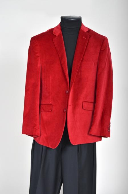 Mens Velvet Sport Coat- Red