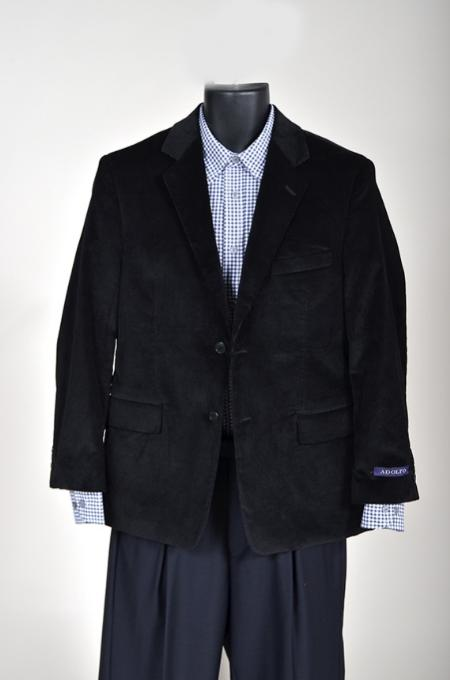 SKU#EU68111 Mens Corduroy Sport Coat Also available in boys sizes Black