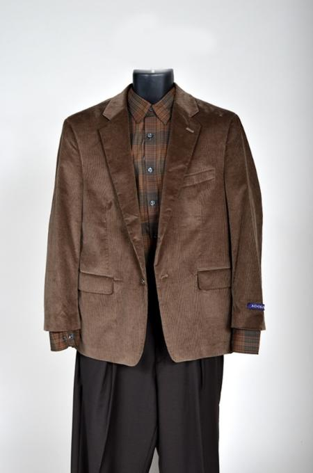 SKU#MA12111 Mens Corduroy Sport Coat- Brown $99