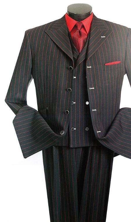 SKU#BX2011 Gangster Stripes Fashion three piece suit Black/Red $175