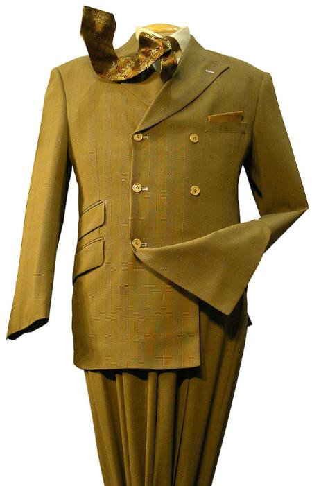 SKU#RT65546 3 Button Double Breasted Fashion three piece suit Mustard $175