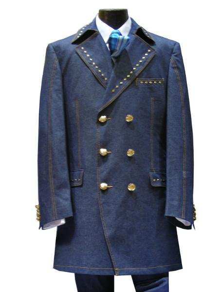 SKU#UY6665 3 PC 6 on 3 Gold Button Denim three piece suit Navy $175