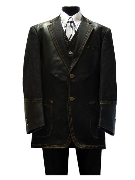 SKU#SL1213 New 3PC 2 Button Denim three piece suit Black $175